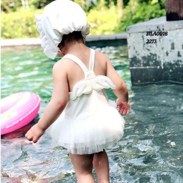 تنخور مایو نوزادی دخترانه با کلاه