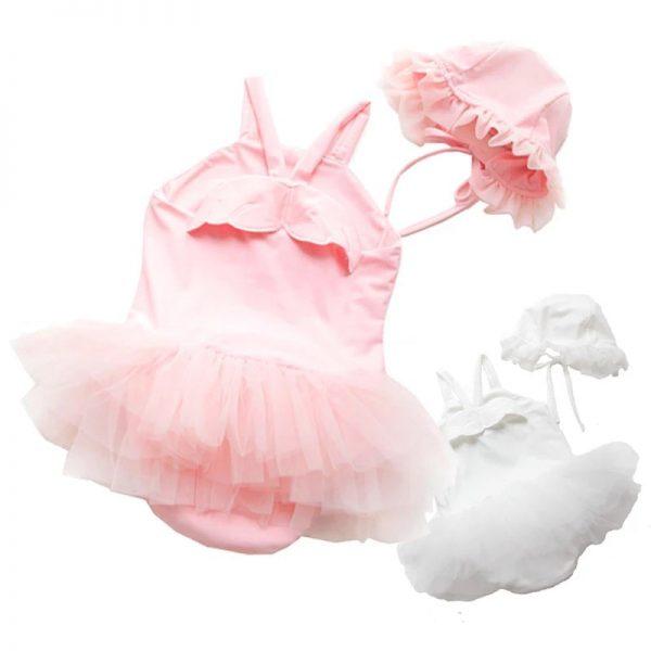 مایو نوزادی دخترانه با کلاه سفید