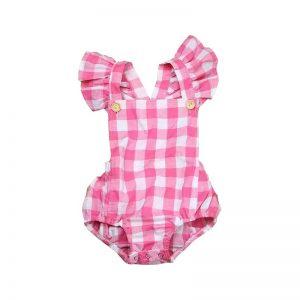 زیردکمه نوزادی دخترانه چهارخانه