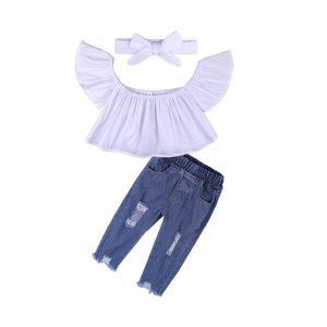 ست تاپ و شلوار جین دخترانه