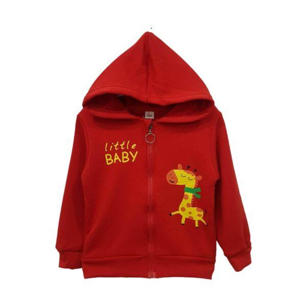 سویشرت کلاه دار بچه گانه طرح زرافه رنگ قرمز