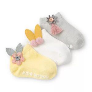 پک جوراب بچه گانه عروسکی طرح گل
