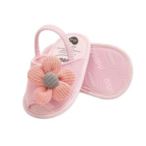 صندل نوزادی دخترانه گلدار صورتی