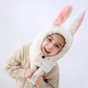 تنخور کلاه بچگانه خرگوشی با گوش متحرک سفید