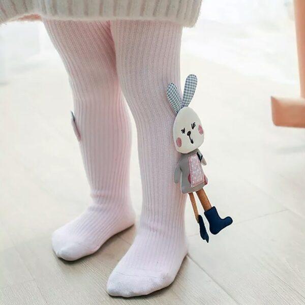 جوراب شلواری عروسکی بچه گانه خرگوش کوچولو رنگ سفید