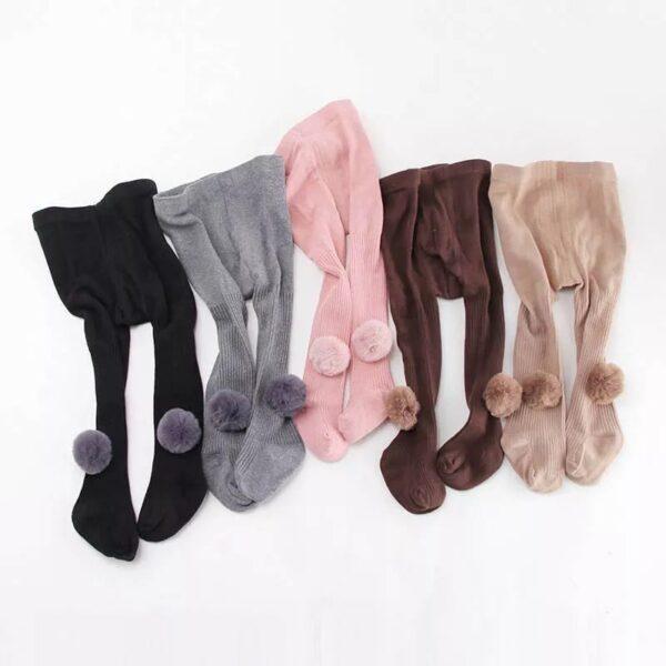 جوراب شلواری پوم دار بچه گانه فانتزی