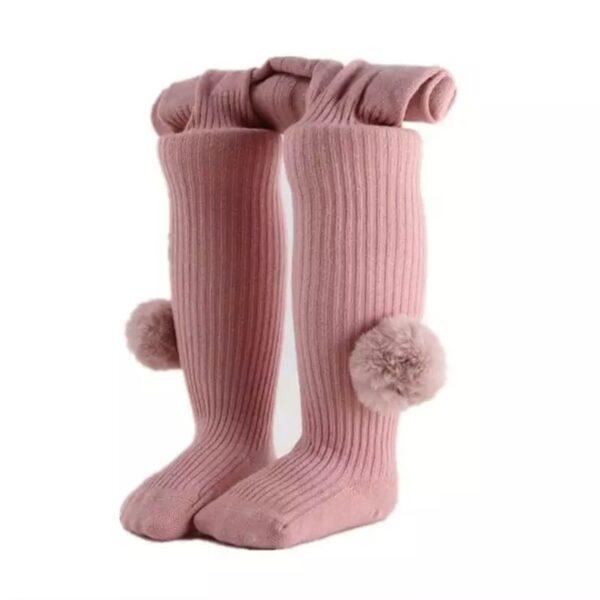 جوراب شلواری پوم دار بچه گانه فانتزی صورتی