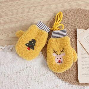 دستکش بچگانه زمستانی طرح کریسمس رنگ زرد