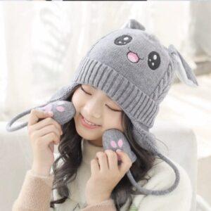 مدل کلاه بافتنی بچه گانه یونیکورن گوش متحرک طوسی
