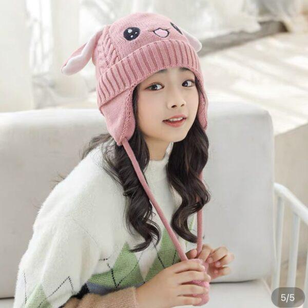 مدل کلاه بافتنی بچه گانه یونیکورن گوش متحرک صورتی پر رنگ