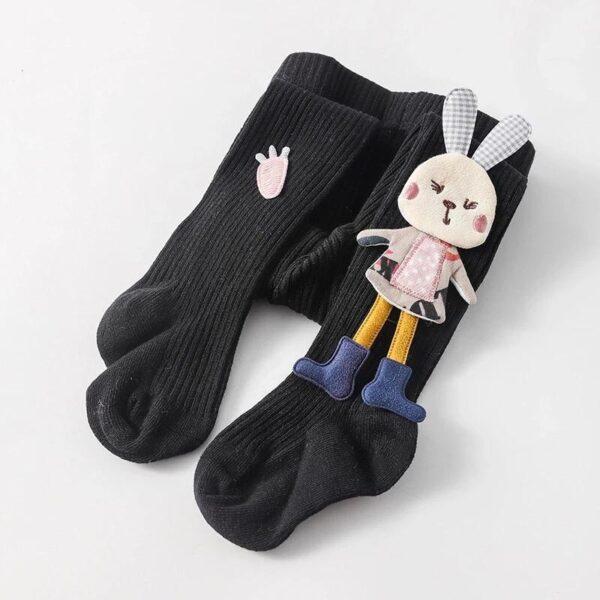 جوراب شلواری عروسکی بچه گانه خرگوش کوچولو رنگ مشکی