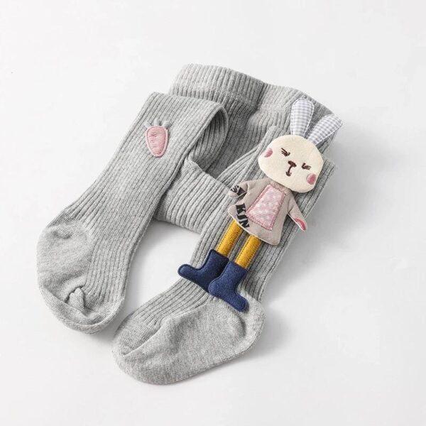 جوراب شلواری عروسکی بچه گانه خرگوش کوچولو رنگ طوسی