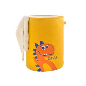 سبد لباس و اسباب بازی کودک مدل دایناسور رنگ زرد