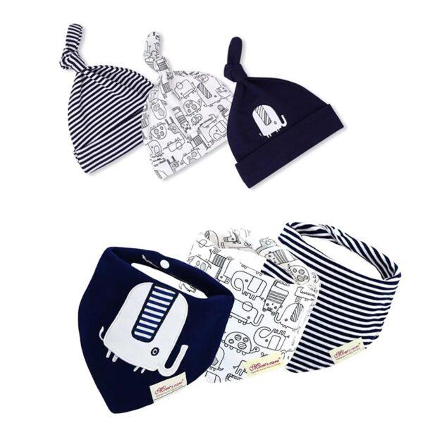 ست کلاه نوزادی و دستمال گردن مدل فیل