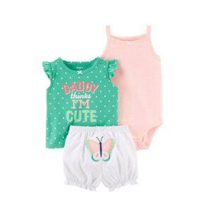 لباس سه تیکه نوزادی دخترانه کارترز شامل زیردکمه تیشرت و شورت
