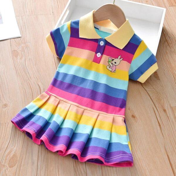 پیراهن دخترانه بچه گانه رنگین کمان پررنگ