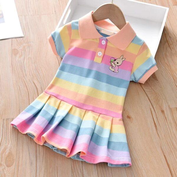 پیراهن دخترانه بچه گانه رنگین کمان کمرنگ ژورنالی