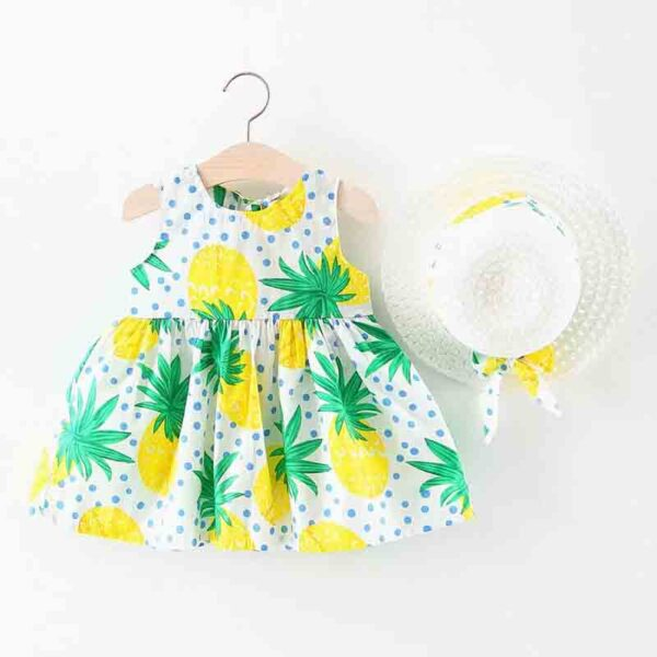 سارافون بچه گانه تابستانی دخترانه با کلاه طرح آناناس