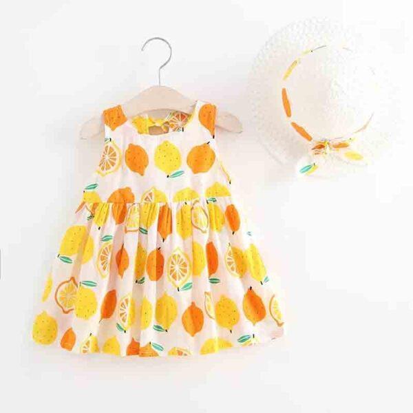 سارافون بچه گانه تابستانی دخترانه با کلاه طرح لیمو