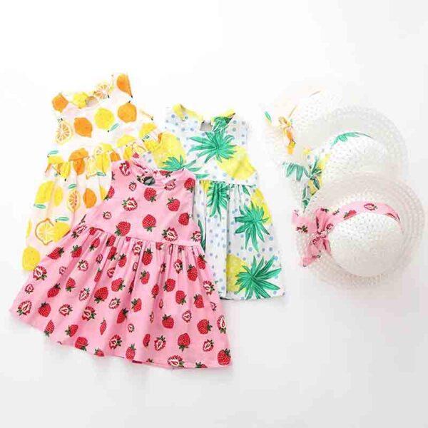رنگبندی سارافون بچه گانه تابستانی دخترانه با کلاه