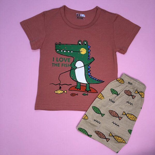 تصویر رنگ اصلی بلوز شورت بچه گانه طرح تمساح ماهیگیر
