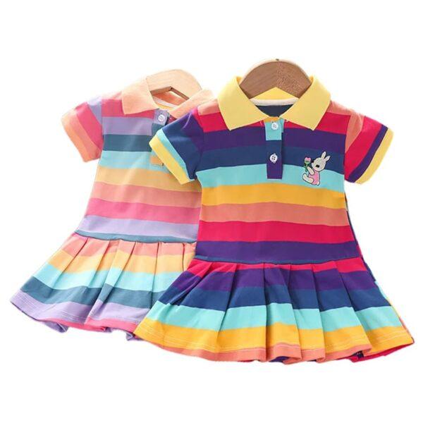 تصویر پیراهن دخترانه بچه گانه رنگین کمان