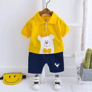 ست تی شرت و شورت بچه گانه طرح خرسی رنگ زرد