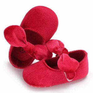 پاپوش نوزادی دخترانه مخمل پاپیون رنگ قرمز